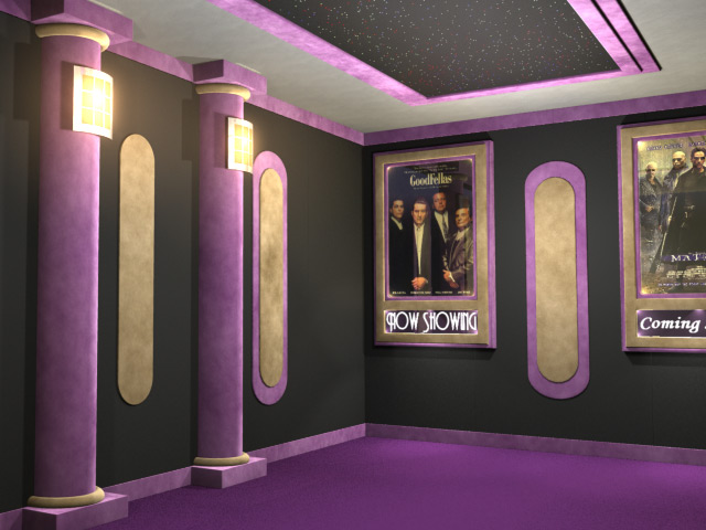 Movie theater room on pinterest home movie theaters for Home theatre decorations