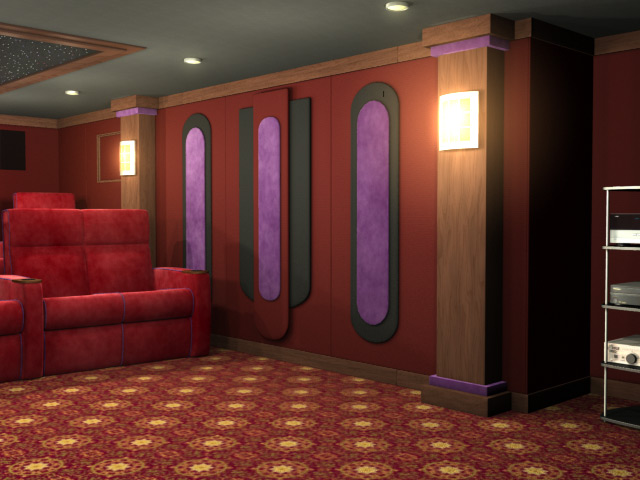 Cascade home theater wall accent for Home theatre decorations