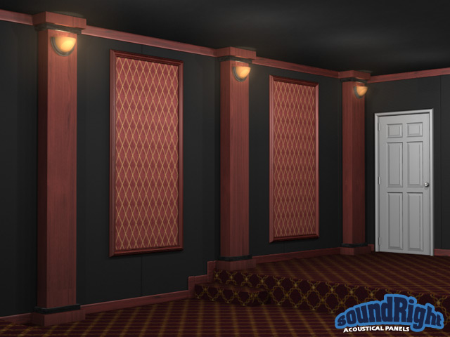 Acoustical framed wall panels for home theaters for Kitchen cabinets lowes with fabric panel wall art