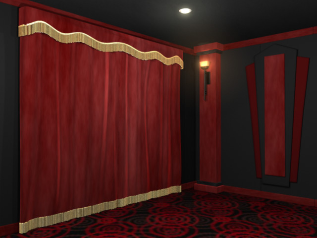 Standard home theater curtains for Motorized curtains home theater