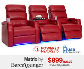 Barcalounger Matrix Red Leather Powered Headrest Home Theater Seating