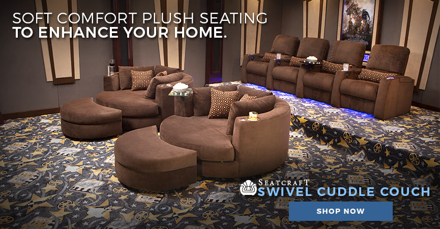 ... Enhance Your Home Theater With The Soft Plush Comfort Of The Seatcraft  Swivel Cuddle Couch ...
