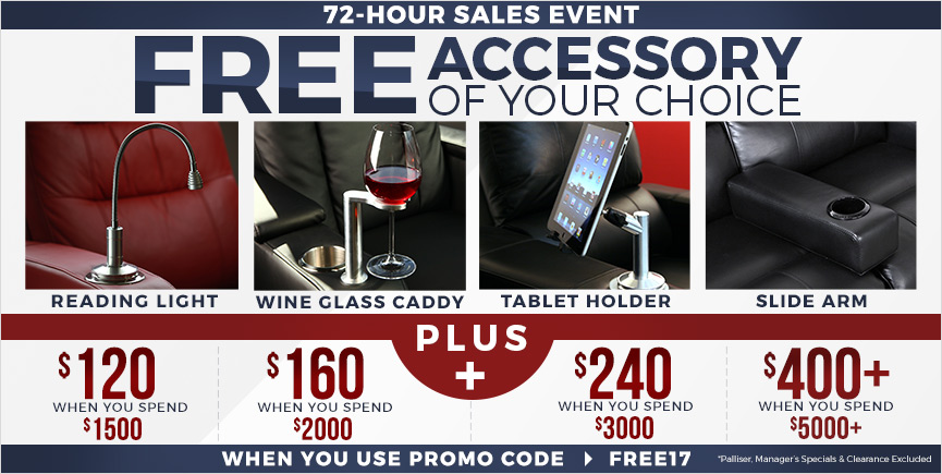 8% off and Free Accessory for all Home Theater Seating