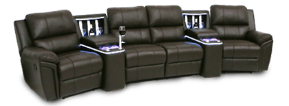 Seatcraft Madison Refreshment Console Home Theater Sofa