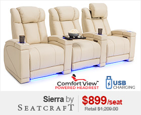 Seatcraft Sierra Cream Leather Home Theater Seating