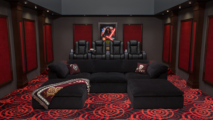 complete home theater decor packages 4seating. Black Bedroom Furniture Sets. Home Design Ideas