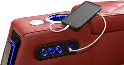 USB charging port is included in the power recline switch.