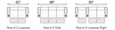 Straight Loveseat & Sofa Home Theater Seating Configurations