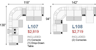 Curved Loveseat & Sofa Sofas and Sectionals Configurations
